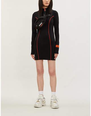 Heron Preston High-neck contrast-stitch stretch-jersey mini dress