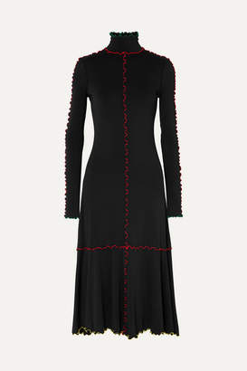 Proenza Schouler Ruffle-trimmed Stretch-knit Midi Dress - Black