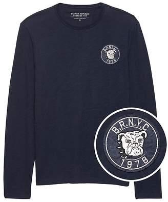 Banana Republic Vintage 100% Cotton Long-Sleeve Patch T-Shirt