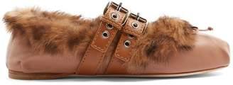 Miu Miu Buckle-fastening leather fur-lined ballet flats