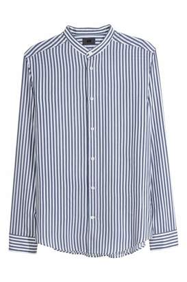H&M Band-collar Shirt Slim fit - White/dark blue striped - Men