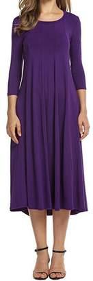 AUDATE 3/4 Sleeve A-Line Swing Dress for Women Winter Midi Dresses M
