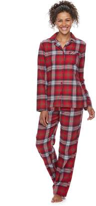 c5f5e34bed Women s Jammies For Your Families Plaid Flannel Top   Bottoms Pajama Set