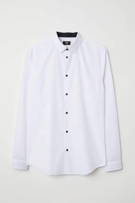 H&M Cotton-blend Shirt Slim fit - White