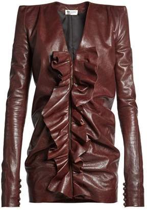 Saint Laurent Ruffled Panel Leather Mini Dress - Womens - Dark Brown