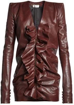 Saint Laurent Ruffled Panel Leather Mini Dress - Womens - Dark Brown