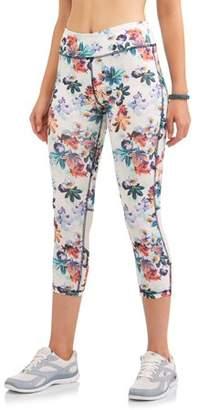 N.y.l. Sport N.Y.L. Sport Women's Active Floral Print Powermesh Performance Capri Legging