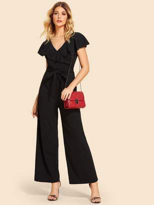 6fffdf0a9c3 Shein Ruffle Trim Knot Front Backless Jumpsuit