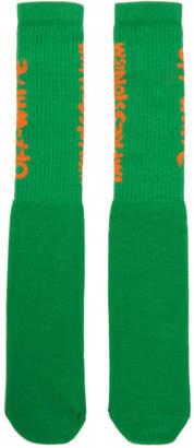 Off-White Green and Orange Bubble Font Socks