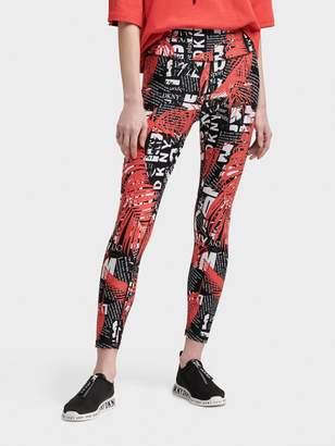 DKNY High-waisted Tropical Text Print Leggings
