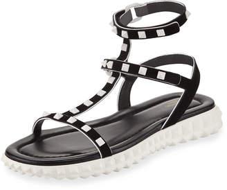Valentino Flat Rockstud Flatform Sandal