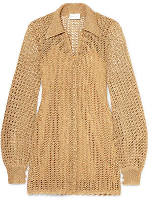 Alice McCall I Found You Metallic Crochet-knit Mini Dress - Gold