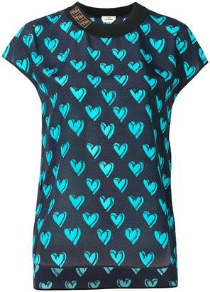 Fendi heart embroidered blouse