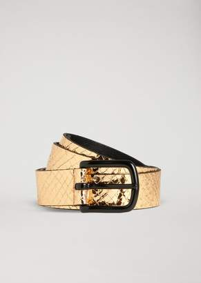 Emporio Armani Belt In Python Print Laminated Leather