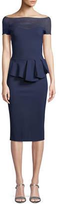 Chiara Boni Nabelle Illusion Dress w/ Peplum Waist