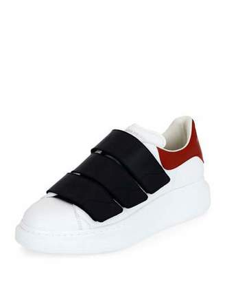 Alexander McQueen Colorblock Leather Low-Top Sneakers, White $545 thestylecure.com