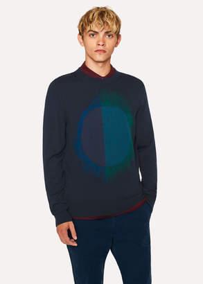Paul Smith Men's Navy 'Paint Spot' Merino Wool-Blend Sweater
