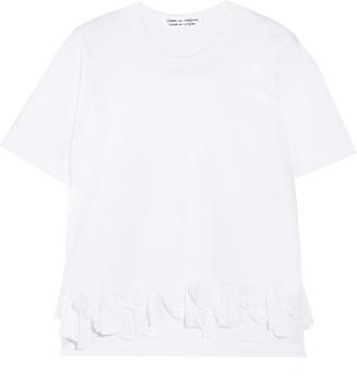 Comme des Garçons Comme des Garçons - Ruffle-trimmed Cotton-jersey T-shirt - White $380 thestylecure.com