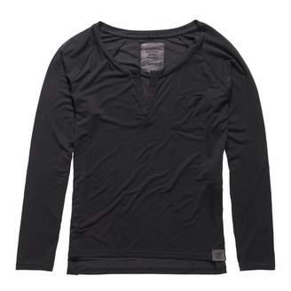 Blackboard Charcoal Luxe Notch Neck Long Sleeve T-Shirt