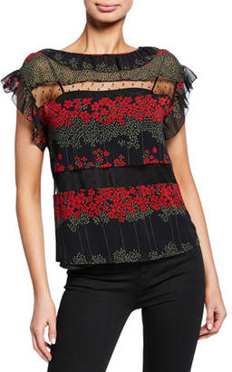 RED Valentino Peony-Print Short-Sleeve Top with Lace Insets & Ruffle Trim