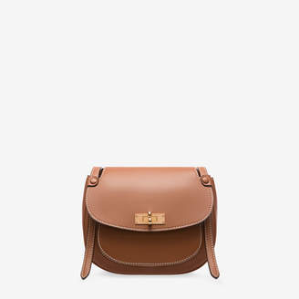 Bally B Turn Saddle Bag Medium Brown, Women's plain bovine leather saddle bag in tan