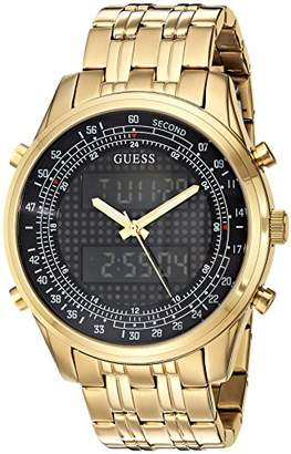 GUESS Men's U0859G1 Trendy Gold-Tone Stainless Steel Watch with Digital Dial and Deployment Buckle