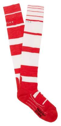 Falke Sk4 Knee High Cushioned Ski Socks - Womens - Red Stripe