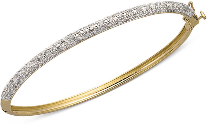 """Townsend Victoria 6-1/4"""" Rose-Cut Diamond Bangle Bracelet in 18k Gold over Sterling Silver (1/4 ct. t.w.)"""