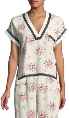 Morgan Lane Yeva Tea Rose Silk Pajama Top