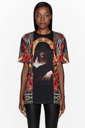 Givenchy Orange floral Gangster Madonna Print shirt