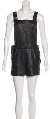 Love Leather Overall-Accented Mini Dress