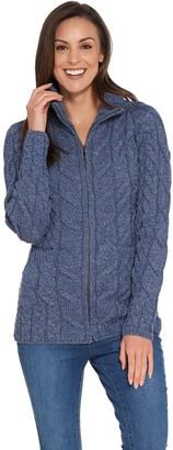 Kilronan Merino Wool Zip Front Sweater with Stand Collar