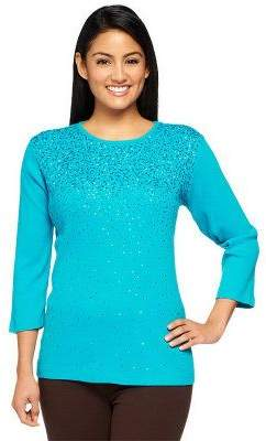 Factory Quacker Mini Sequin 3/4 Sleeve 1x1 Rib T-shirt
