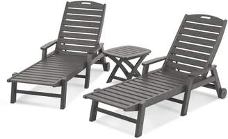 Polywood 3-piece Nautical Outdoor Folding Chaise Lounge & Side Table Set