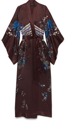 MENG - Printed Silk-satin Kimono - Burgundy