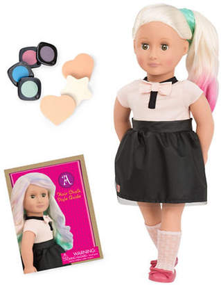 Our Generation Amya Hair Chalk Doll with Book