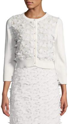 Karl Lagerfeld Paris Floral-Applique Shrug Cardigan