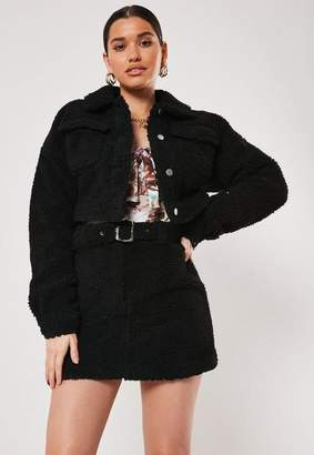 Missguided Black Co Ord Borg Utility Cropped Jacket