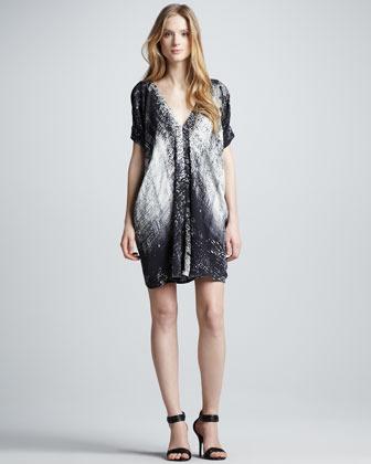 Vince Graffiti-Print Silk Dress