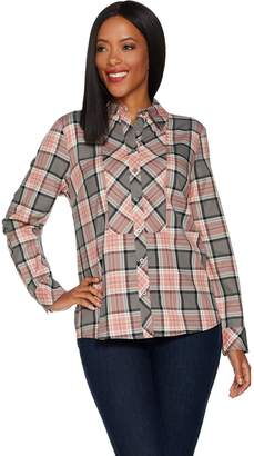 Denim & Co. Stretch Weave Plaid Button Front Long Sleeve Shirt