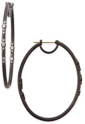Armenta Midnight Scattered Diamond Oval Hoop Earrings