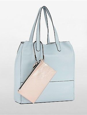Calvin Klein Calvin Klein Womens Workman North/South Tote + Wristlet Pouch Chambray