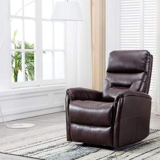 BONZY Recliner Chair Overstuffed Backrest - Brown Leather Chair
