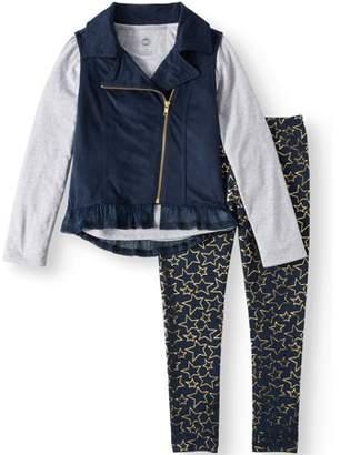 Moto Wonder Nation Vest, Chiffon Hem Top, and Legging, 3-Piece Outfit Set (Little Girls & Big Girls)