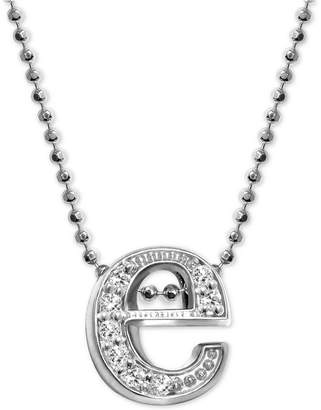 "Alex Woo Diamond Initial ""e"" 16"" Pendant Necklace (1/10 ct. t.w.) in 14k White Gold"
