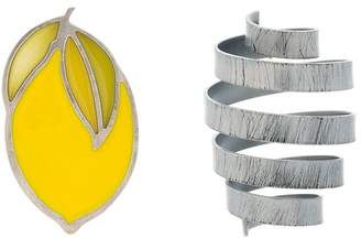 Yellow and Grey Citron Spring Earrings