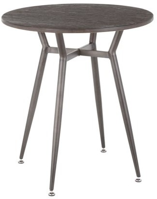 Lumisource Clara Industrial Round Dinette Table in Antique Metal and Espresso Wood-Pressed Grain Bamboo
