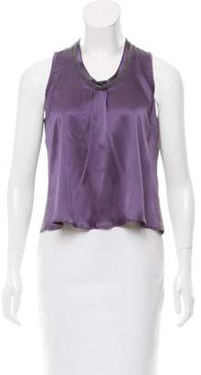 Brunello Cucinelli Sleeveless Knit-Accented Top