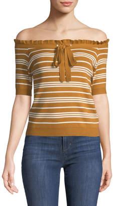 Avantlook Off-The-Shoulder Striped Crop Sweater