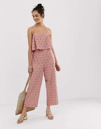 434da911aca5f Asos Design DESIGN jumpsuit with crop top layer in broderie